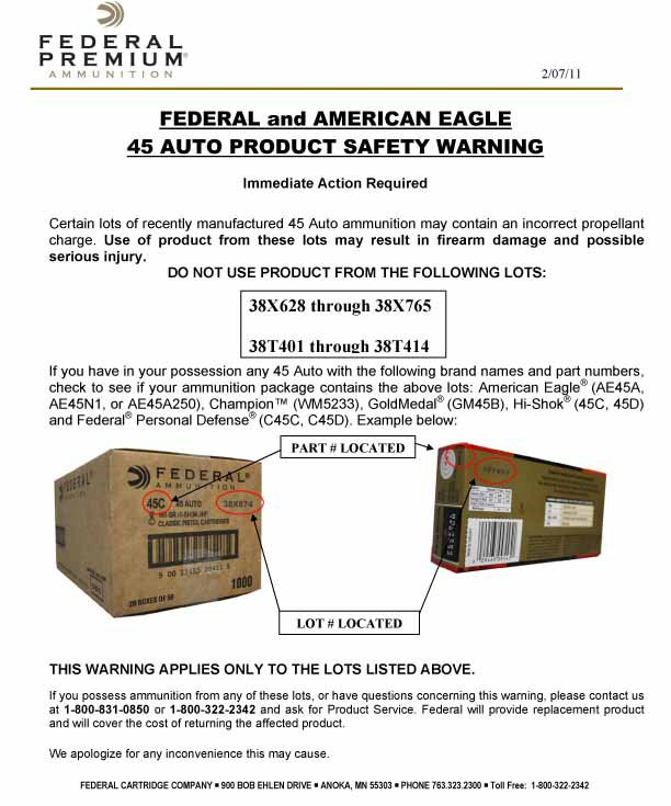 Federal ammunition recall flyer